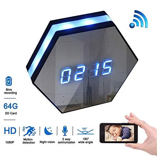 Balscw-J 1080p Full HD WiFi Reloj CAM Reloj de Pared cámara espía con 8m IR Super Night Vision, vigilancia activada por Movimiento inalámbrico