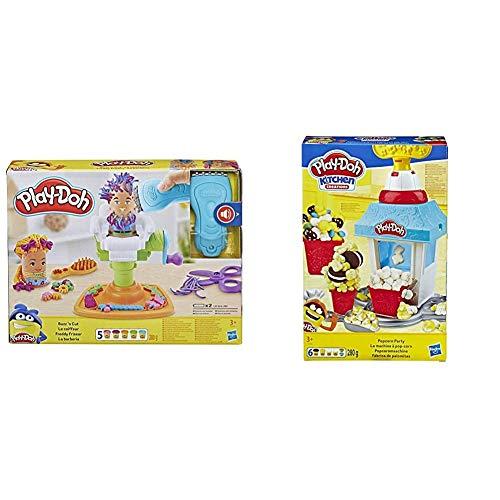 Play-Doh Freddy Friseur, Knete für fantasievolles und kreatives Spielen, ab 3 Jahren & Popcornmaschine mit 6 Dosen Knete, ab 3 Jahren