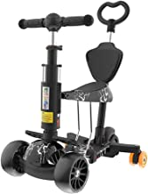 Mopoq 5-in-1 Scooter For Kids With Seat 3 Wheel Adjustable Detachable Portable Scooter With LED Wheel For Boys And Girls 1...