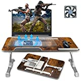 Laptop Bed Tray Desk, Laptop Table Bed for Eating Writing, Portable Notebook iPad Stand Reading Holder with CPU Cooling Fans in Sofa Couch Floor Large Size