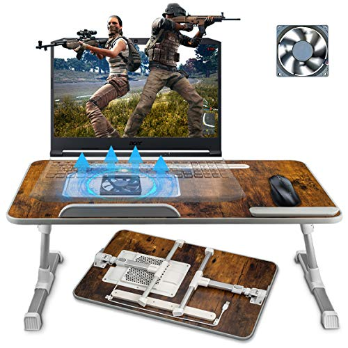 Adjustable Laptop Bed Tray Desk, Foldable Computer Stand Bed Table for Eating Writing and Laptops, Portable Notebook iPad Stand Reading Holder with CPU Cooling Fans in Sofa Couch Floor Large Size
