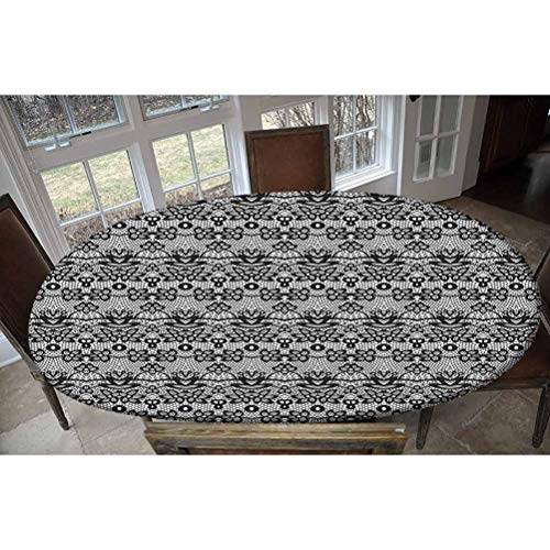 LCGGDB Elastic Polyester Fitted Table Cover,Monochrome Lace Pattern with Floral Motifs and Foliage Medieval Design Decorative Oblong/Oval Elastic Fitted Tablecloth,Fits Tables up to 48' W x 68' L