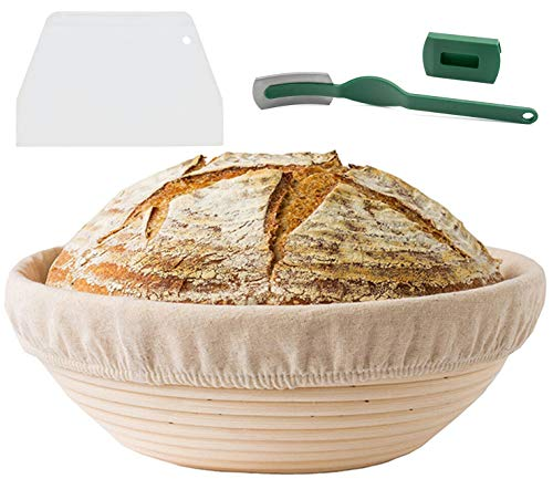 9 Inch Bread Banneton Proofing Basket - Bread Proofing Basket + Bread Lame +Dough Scraper+ Linen Liner Cloth,The Ideal Baking Bowl for Sourdough and Yeast Bread Dough.