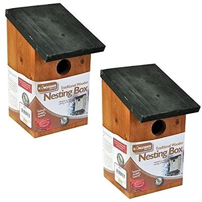 2 X Wooden Nesting Nest Box Bird House Small Birds Blue Tit Robin Sparrow by Garden Mile?