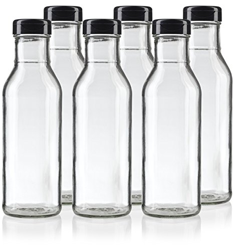 12 oz Professional Clear Glass Thick Wall Sauce Bottle with Drip Resistant Flip Top Cap (6 Pack) for BBQ Sauce, Salad Dressings, more
