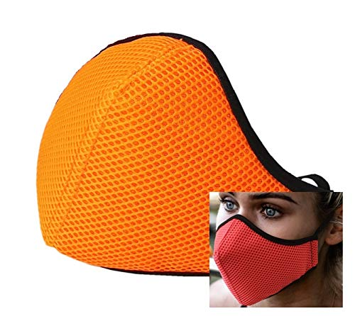 Mascarilla deportiva naranja tejido 3D homologada reutilizable producto español cómoda