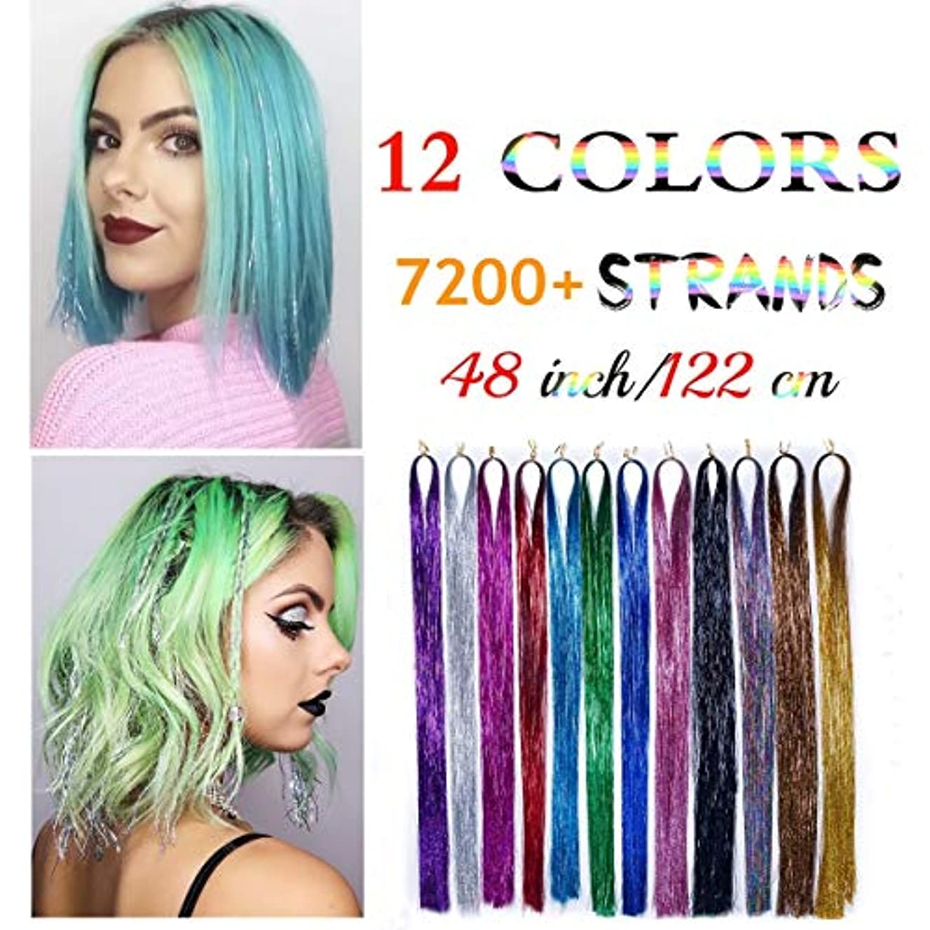 48 Inch 7200+ Strands Hair Tinsel,12 Colors Sparkling Shiny Hair Tinsel Fairy Hair Glitter In Extension Dazzle Multi Colors Part Party Highlights Tinsel for Girls & Women