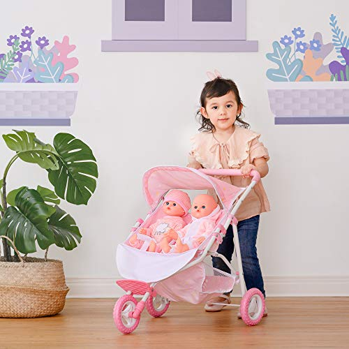 Olivia's Little World Double Twin Baby Doll Pram Stroller Pushchair Pink Stars OL-00012