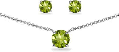 Sterling Silver Genuine, Created or Simulated Gemstone Round Solitaire Choker Necklace and Stud Earrings Set