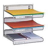 Relaxdays Dokumentenablage, Metall, Wandmontage & Hinstellen, Briefablage DIN A4, Büroablage HBT: 32x33x25 cm, Silber, 1 Stück