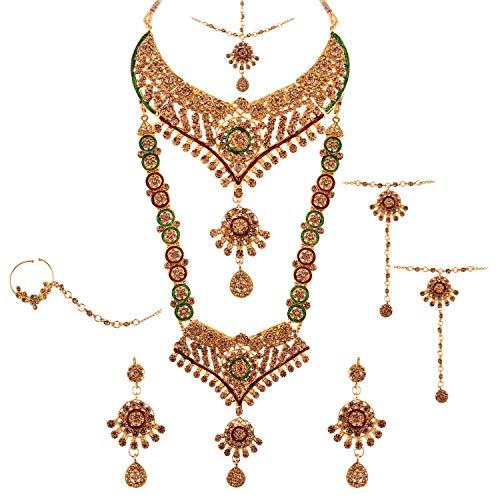 Efulgenz Juego de gargantilla de diamantes de imitación de boda india Bollywood para novia, collar y pendientes, cadena de cabeza Maang Tikka