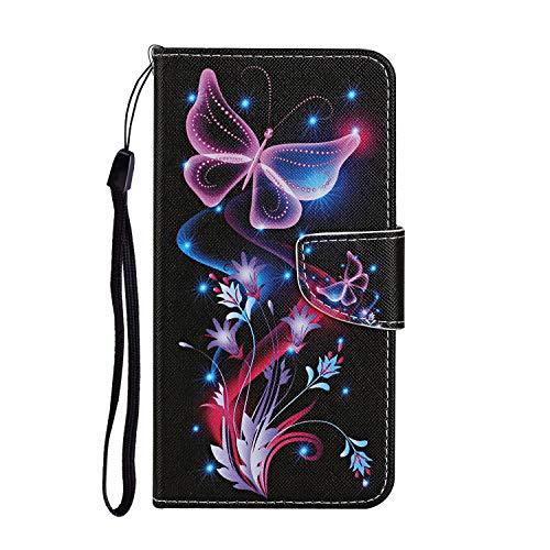 Funda de piel sintética para teléfono Samsung Galaxy A22 5G, diseño de mariposas con purpurina, tipo libro, antigolpes, con imán y soporte