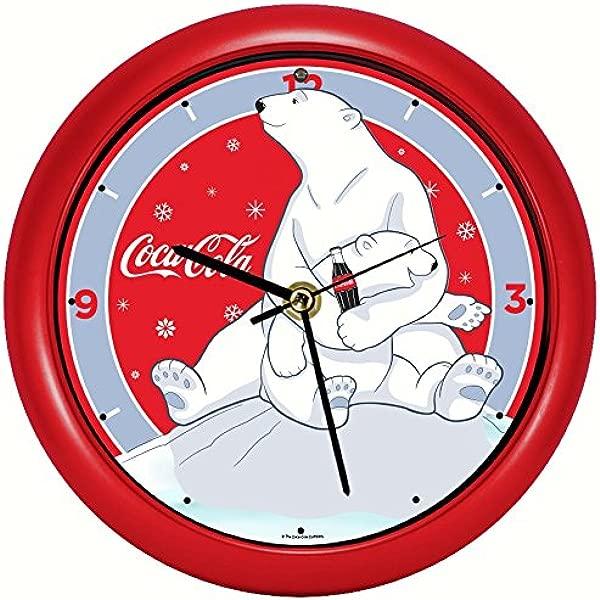 Mark Feldstein Coca Cola Polar Bear W Cub 8 Inch Sound Clock