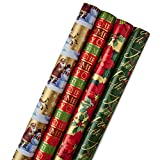 Hallmark Reversible Christmas Wrapping Paper Bundle, Traditional (Pack of 4, 150 sq. ft. ttl.) Poinsettias, Holly, Santa, Snowflakes, Gold, Red, Green