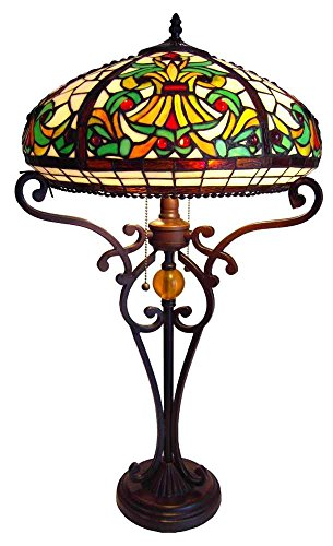 tiffany style victorian 2 light table lamp with 16 inch shade on sale. Black Bedroom Furniture Sets. Home Design Ideas