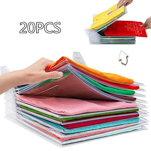 Organizador de Armarios Ropa - Camiseta Carpeta, Tamaño Normal, 20-Pack (Transparente)
