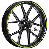 Autodomy Pegatinas Llantas Moto Juego Completo para 2 Llantas de 15' a 19' Pulgadas Diseño Sport (Verde Lima)