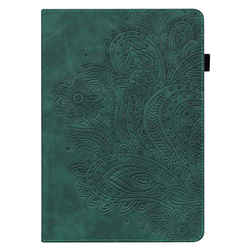 Fire HD 8 Plus Tablet Case 10th Generation, Fire HD 8 Case 2020 Release, UGOcase Embossed Pattern PU Leather Multi-Angle Folio Stand Cover with Elastic Band Stylus Loop for Amazon Fire 8 inch, Green