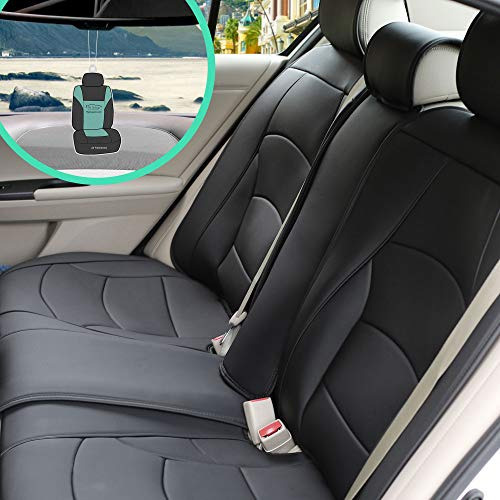 FH Group PU205013 Ultra Comfort Highest Grade Faux Leather Seat Cushions (Black) Rear Set with Gift – Universal Fit for Cars Trucks & SUVs