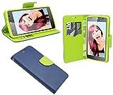 ENERGMiX Buchtasche kompatibel mit ZTE Blade L5 Hülle Hülle Tasche Wallet BookStyle mit Standfunktion in Blau-Grün (2-Farbig