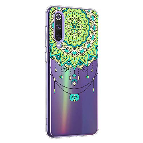 Oihxse Mandala Flores Encaje Patrón Serie Case Compatible con Samsung Galaxy J8 Funda TPU Silicona Suave Protector Ultra Slim Anti-Rasguño Transparente Carcasa (A2)