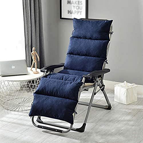 GJJSZ Cojines para tumbonas Cojín para sillón Cojín para jardín portátil Patio Cama Acolchada Gruesa Reclinable Banco Relajante Funda de Asiento para Viajes Vacaciones Interior Exterior Azul
