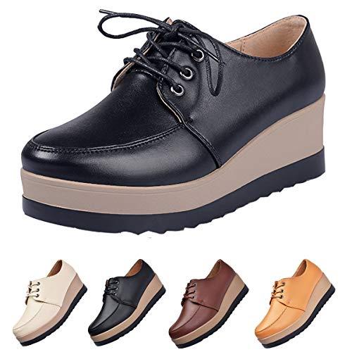 Mocasines de Mujer Cuero Moda Cómodo Loafers Casual Plataforma Zapatos de Conducción Zapatos Planos de Pierna Delgada