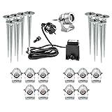 Hochwertige LED Gartenlampen 11er Set 11 Außenlampen elektrisch mit Stromanschluss 230V zu 12V Strom