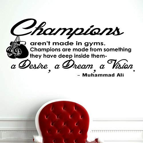 Boxeo Ali Citas inspiradoras Vinilo Adhesivo de pared Amantes del boxeo Hombres Deportes Boxeo Deportes