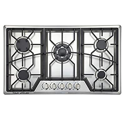 """34"""" Gas Cooktop 5 Burners Gas Stove Stainless Steel Built-in/Counter Top LPG/NG Thermocouple Protection and Easy to Clean in Silver"""
