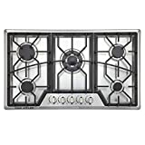 "34"" Gas Cooktop 5 Burners Gas Stove Stainless Steel Built-in/Counter Top LPG/NG Thermocouple Protection and Easy to Clean in Silver"