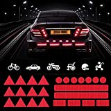 TOMALL 25Pcs Strong Reflective Stickers High-Intensity Night Visibility Reflective Decals Safety Warning Diamond Grade Waterproof Self Adhesive for Car Motorcycle Helmet Stroller Wheelchair (Red)