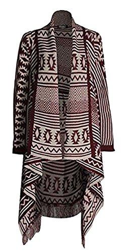 Islander Fashions Womens Aztec Stripe Diamond Cardigan Ladies Knitted Waterfall Frill Cardigan Vino/Pietra One Size (Fit IT 40-46)