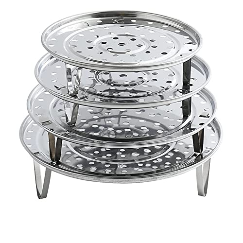 N / B Rejilla de Vapor Redonda de Acero Inoxidable de 4 Piezas, Rejilla de enfriamiento Redonda Multiusos para conservas con Patas Desmontables, para Hornear ensaladas de Pan