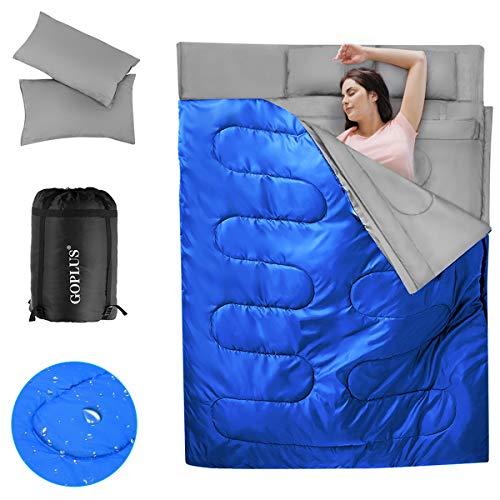 COSTWAY 2 in 1Doppelschlafsack, Einzelschlafsack XL, Deckenschlafsack 2 Personen/mit 2 Kissen / 220x150cm / für Camping, Wandern, Aktivitäten im Freien (Blau)