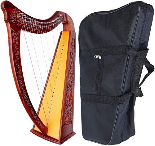 DEURA Celtic Irish Harp with CASE 22 Strings ROSEWOOD Lap FOLK DH-800