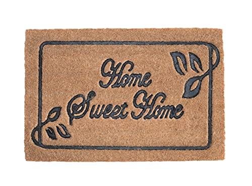 Felpudo de Coco Natural, felpudos Entrada casa, Alfombra Limpia Zapatos, Felpudo Exterior, Alfombra Entrada casa Interior, 60x40 (Home Sweet Home)