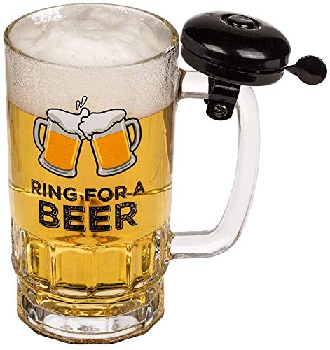 Bierglas Bierbecher 0,5Liter mit Klingel - Ring for a Beer im Geschenkskarton