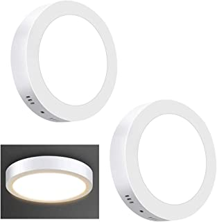 2Pack LED Surface Mounted Panel Ceiling Light Fixture-12W(100W Equivalent) Soft Warm Flat Flush Mount Downlight Lamp for C...