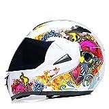MYSdd Fashion Double Lens Head Flip Motorradhelm Offroad Motorrad Integralhelm Rennhelm blendfrei...