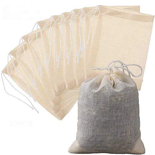 50 Stck Baumwoll-Musselin-Beutel mit Kordelzug, wiederverwendbar, klein, Netzbeutel zum Kochen, Einweichen von Medizinischem Likör, Tee, Kaffee, Filter, DIY Karft Gewürze, Aufbewahrung, Unkrautpartys