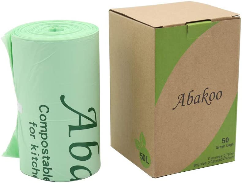 Abakoo 100% Biodegradable Compostable Trash Bags, Tall Kitchen Compost Trash Bags, Food Scrap Yard Waste Bags, 13 Gallon 50 liter; US BPI and Europe OK Compost Home Certified
