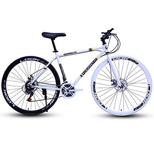 NA ZGGYA Bici Ibrida per Adulti, Struttura in Acciaio ad Alta Carbonio, Corse per Bici da Strada, Bicicletta a Doppio Disco a Ruote, Bicicletta da 26 Pollici, Bici da Donna