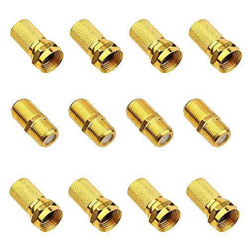 4 Paare Vergoldet F-Stecker Set - 8x 7mm F-Stecker & 4x SAT Adapter Verbinder F-Buchse auf Koax Stecker Verbinder Koaxialkabel verlängern, Breite Mutter mit Gummidichtung für Sat Kabel BK Anlagen