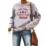 Merry Christmas Sweatshirts for Women Farm Fresh Christmas Trees Sweatshirt Christmas Pullover Sweater (Gray 1, Small)