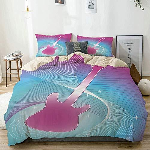 Totun Bettbezug-Set Beige, Pink-Gitarrenmusik-Vibrationsdruck, dekoratives 3-teiliges Bettwäscheset mit 2 Kissenbezügen Pflegeleicht Antiallergisch Weich Glatt
