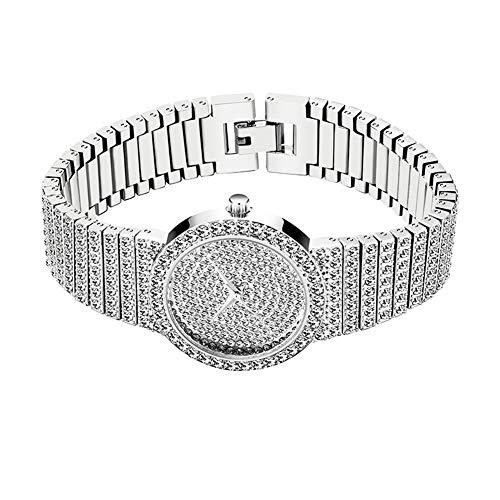 Damen Star Diamond Uhr Hip Hop Iced Out Strass Armbanduhr 30M wasserdichte Quarz Diamantuhr Full Diamond Armband Luxusuhren für Damen