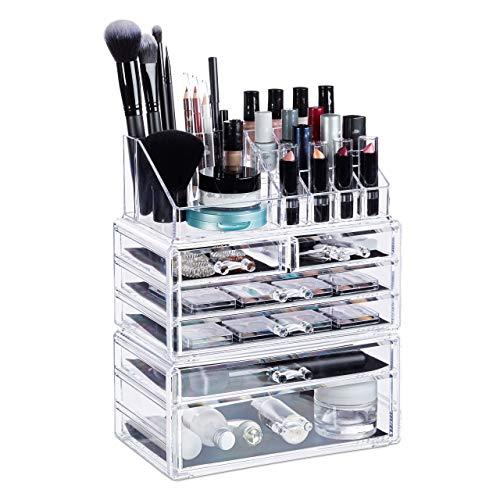 Relaxdays, transparent Kosmetikorganizer mit 6 Schubladen, 22 Fächer Make Up Organizer, Schmink-Aufbewahrung aus Acryl, Standard