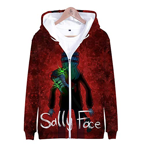 MULIZHE Kleurrijke bedrukte 3D Kerstmis hoodie lange mouwen tas dikke pullover heren en dames neutrale deco pullover A-1681 Adventure puzzel Sally Face