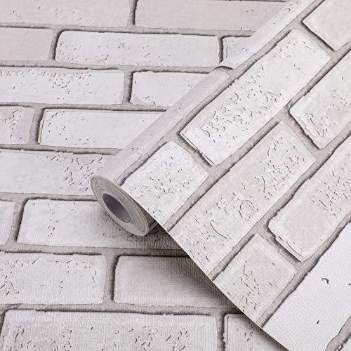KINLO Fototapete 3D Wandaufkleber Stein Tapete selbstklebend Klebefolie 0,6x5M Wandtapete Dekorfolie Wandbilder Wandsticker Verdicke 0,42mm Wallpaper für Möbel Wand Hintergrund | Weißer Ziegel C